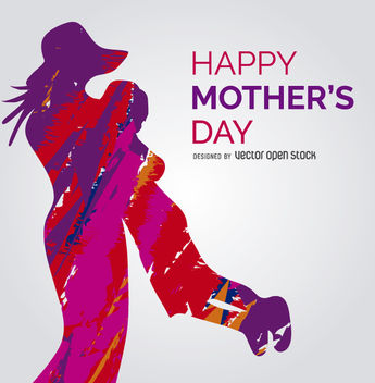 Vibrant mother and child vector with message - vector #363235 gratis