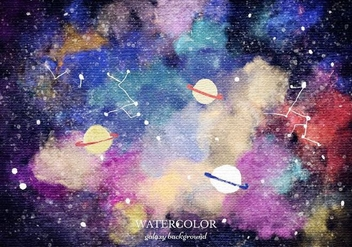 Free Vector Watercolor Planet Galaxy Background - Free vector #363375