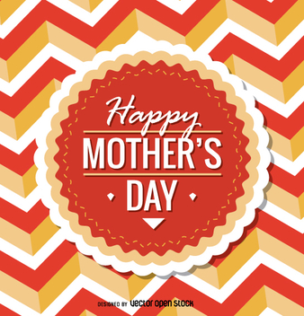 Circular Happy Mother's Day emblem - vector gratuit #363455