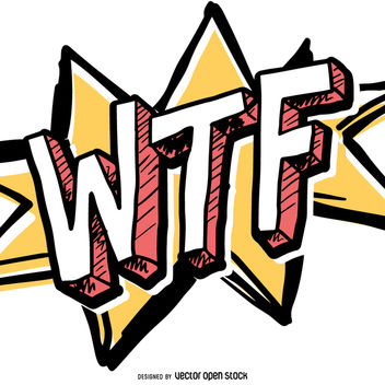 Funny WTF comic sign - Free vector #363465