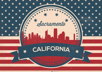 Retro Style Sacramento Skyline Illustration - бесплатный vector #363825