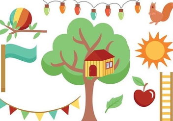 Free Treehouse and Backyard Vectors - Free vector #363875