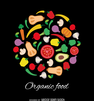 Natural food vector over black background - vector gratuit #363955
