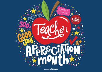 May Teacher Appreciation Month Vector - бесплатный vector #363975