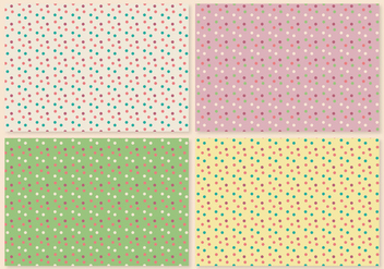 Retro Polka Dot Pattern Set - Kostenloses vector #364025