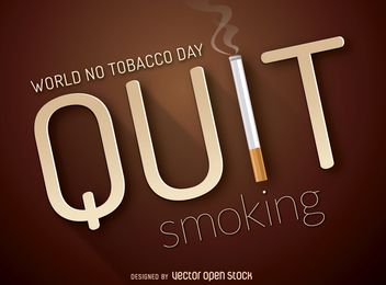 Quit smoking poster with cigarette - vector gratuit #364225