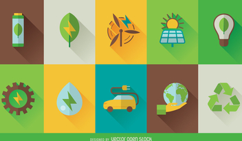 Eco technology icon set - vector gratuit #364235