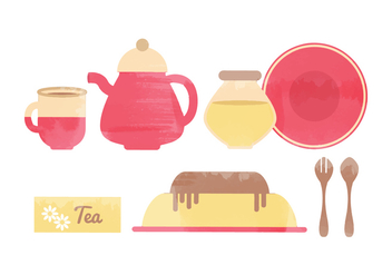 Vector Kitchen Watercolor Elements - бесплатный vector #364275