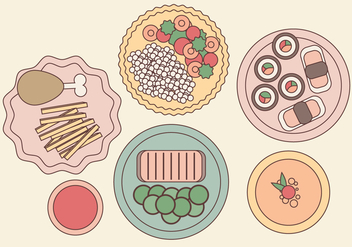 Vector Plated Food Illustration - vector #364335 gratis