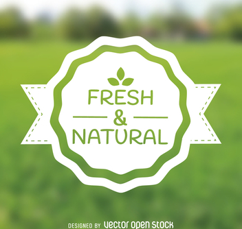 Fresh and natural produce emblem - vector gratuit #364435