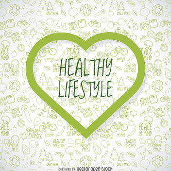 Healthy lifestyle wallpaper with green heart - бесплатный vector #364445