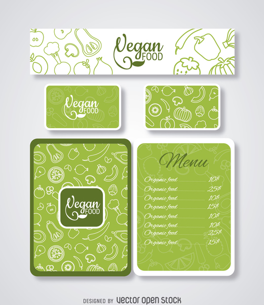 Vegan food restaurant menu template - vector gratuit #364645