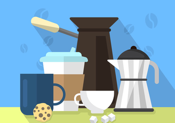 Flat Coffee Illustration - vector gratuit #364785