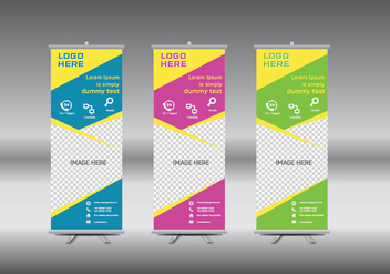 Roll Up Banner template vector illustration - Free vector #365005