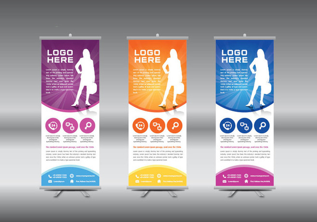 Roll Up Banner template vector illustration - Free vector #365015