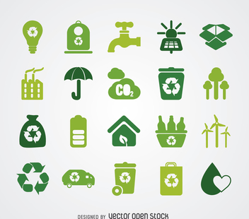 Renewable energy and ecology icon collection - Free vector #365055