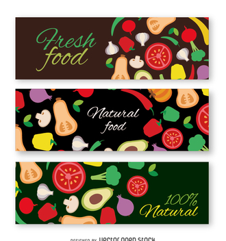 Colorful vegetables banner set - vector gratuit #365065