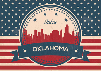 Tulsa Oklahoma Retro Skyline Illustration - vector gratuit #365155
