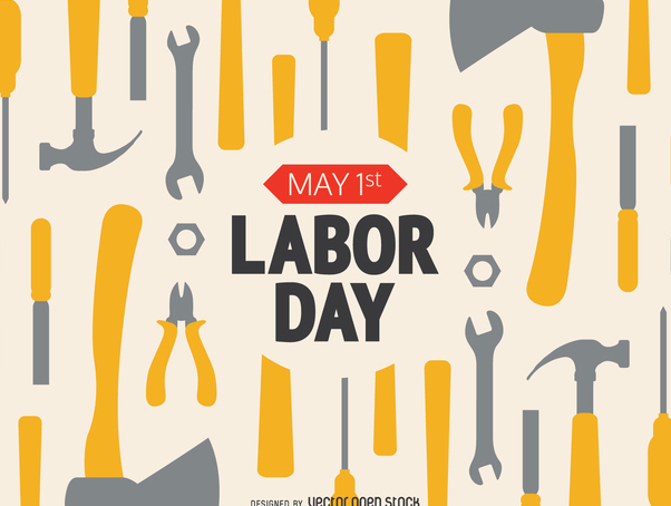 Labor Day working tools with message - vector gratuit #365205