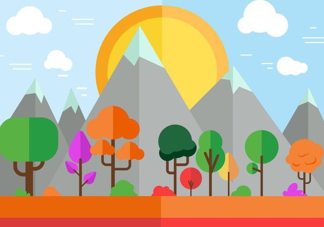 Free Colorful Vector landscape - бесплатный vector #365305