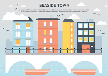 Free Flat Seaside Town Landscape Vector - Free vector #365325