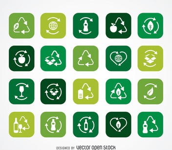 Ecology and recycle icon collection - vector gratuit #365435