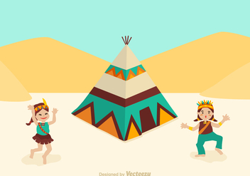 Free American Indian Kids Dancing Vector - Free vector #365615