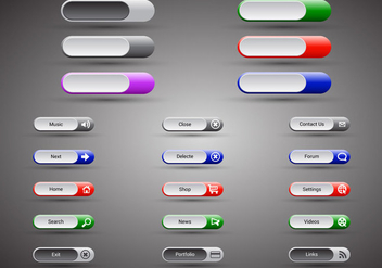 Free Web Buttons Set 12 Vector - Free vector #365665