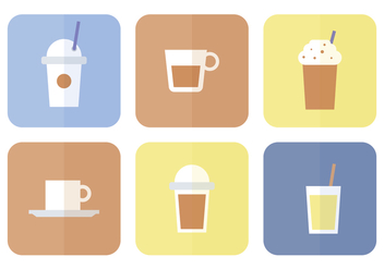 Coffee Flat Icon Set - vector gratuit #365775
