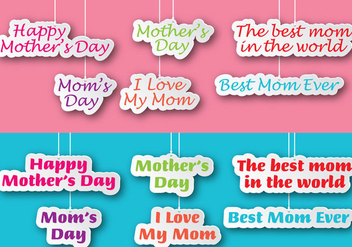 Mothers Day Labels - vector gratuit #365915