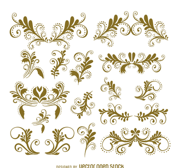 Swirls and ornament set - Free vector #365975