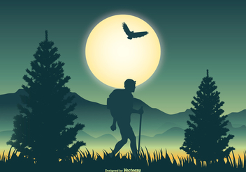 Mountaineer Scene Vector Illustration - Free vector #366105