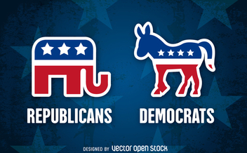 Republican and Democrat party symbols - Free vector #366165