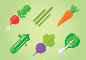 Vegetables Flat Icons Vector - Kostenloses vector #366395