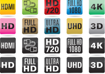 TV Resolution Buttons - vector gratuit #366995