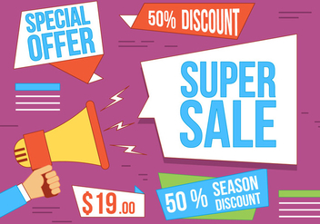 Free Vector Super Sale Illustration - vector gratuit #367295