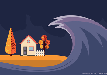 Tsunami illustration design - Free vector #367345