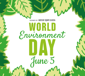 World environment day leaves frame - vector gratuit #367575