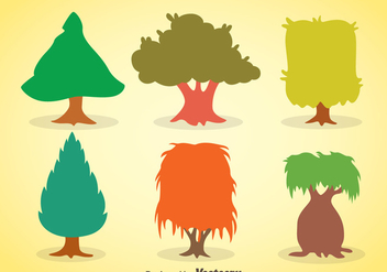 Colorful Tree Collection Vector - vector gratuit #367645
