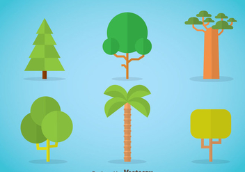 Tree Flat Icons Vector - vector gratuit #367685
