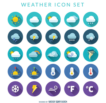 Flat weather icon set - vector gratuit #367935