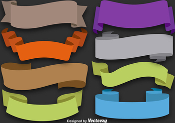 Set Of 8 Colorful Flat Ribbons - vector gratuit #368025