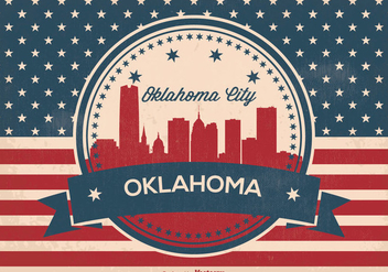 Oklahoma City Retro Skyline Illustration - vector gratuit #368795