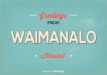 Waimanalo Hawaii Retro Greeting Illustration - Kostenloses vector #368855