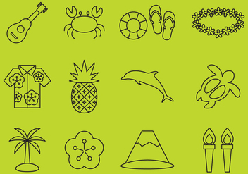 Hawaiian Line Icons - vector gratuit #368885