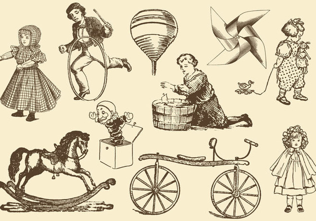 Antique Toy Vectors - vector gratuit #368895