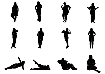 Fat Women Silhouettes Vector - Free vector #369085