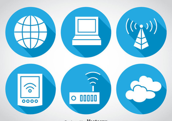 Internet Blue Circle Icons - vector gratuit #369105