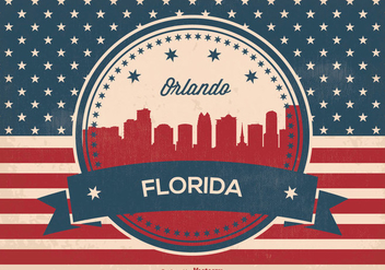 Retro Style Orlando Florida Skyline Illustration - vector gratuit #369125