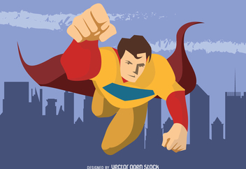 Superhero flying character drawing - Free vector #369195